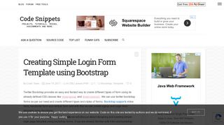 Creating Simple Login Form Template using Bootstrap - Code Snippets