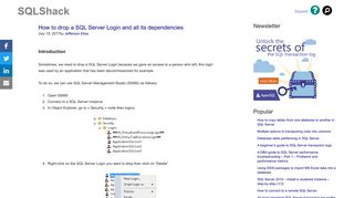 How to drop a SQL Server Login and all its dependencies - SQLShack