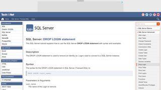 SQL Server: DROP LOGIN statement - TechOnTheNet