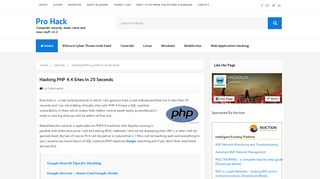 Hacking PHP 4.4 sites in 20 seconds - Pro Hack