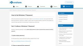 How to Set Password for Windows 7 - iSunshare