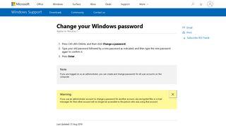 Change your Windows password - Windows Help - Microsoft Support