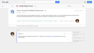 How Do I Access My ALTERNATE Gmail Account? - Google Product Forums