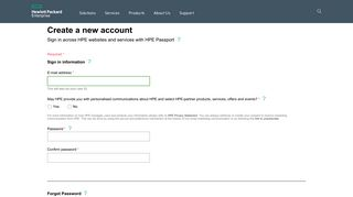 HPE Passport New User Registration   HP® Official Site