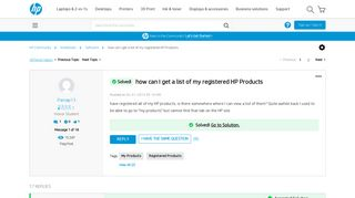 Solved: how can I get a list of my registered HP Products - HP ...