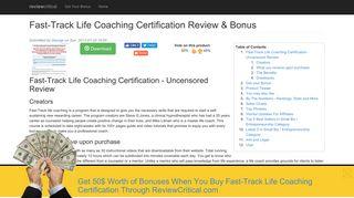 Fast-Track Life Coaching Certification - http://www.lifecoachingcertified ...
