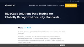 BlueCat's Solutions Pass Testing for Globally Recognized Security ...
