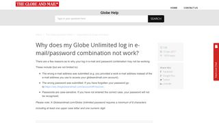 Why does my Globe Unlimited log in e-mail/password combination not ...