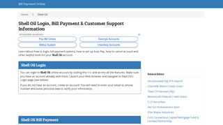 Shell Oil Login, Bill Payment & Customer ... - Bill Payment Online