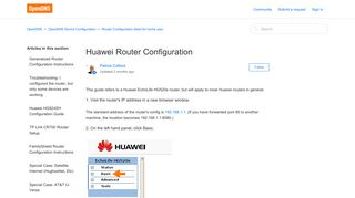 Huawei Router Configuration – OpenDNS