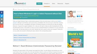 How to Recover or Reset Windows 8 Password (without Disk)