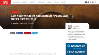 Lost Your Windows Administrator Password? Here's How to Fix It