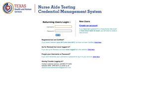 Texas Nurse Aides Credential Manager