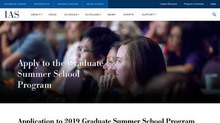 Apply to the Graduate Summer School Program   Institute for ...