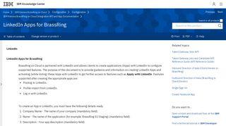 LinkedIn Apps for BrassRing - IBM