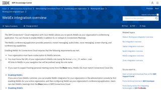 WebEx integration overview - IBM