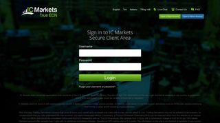 Sign in to IC Markets Secure Client Area