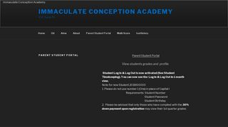 Parent Student Portal – Immaculate Conception Academy
