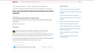 How to download video lectures from ICAI cloud campus - Quora