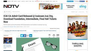 ICAI CA Admit Card @ Icaiexam.Icai.Org: Download Foundation ...