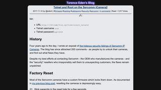 Telnet and Root on the Sercomm iCamera2 – Terence Eden's Blog