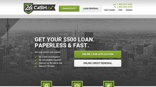 Online Cash $500/$750 no documents required 24Cash.ca