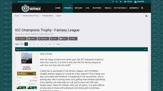 ICC Champions Trophy - Fantasy League - Pakistan Defence