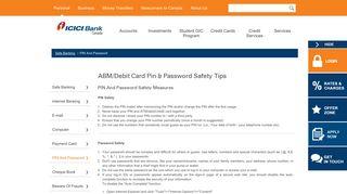 ABM/Debit Card Pin & Password Safety Tips - ICICI Bank Canada