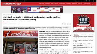 ICICI Bank login alert: ICICI Bank net banking, mobile banking ...