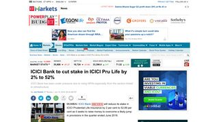ICICI bank: ICICI Bank to cut stake in ICICI Pru Life by 2% to 52% - The ...