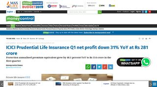 ICICI Prudential Life Insurance Q1 net profit down 31% YoY at Rs 281 ...