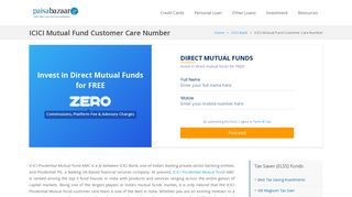 ICICI Mutual Fund Customer Care - 24x7 Toll-Free Number