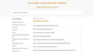 PayDirect Card - ICICI Bank Support Center