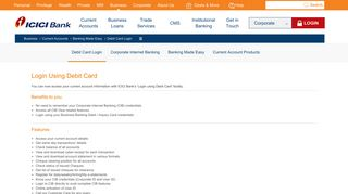 Login Using Debit Card - ICICI Bank