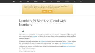 Numbers for Mac: Use iCloud with Numbers - Apple Support