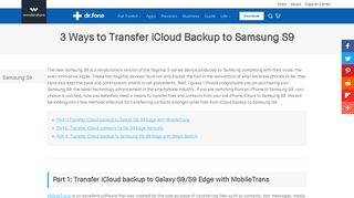 3 Ways to Transfer iCloud Backup to Samsung S9- dr.fone