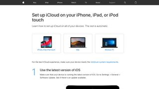Set up iCloud on your iPhone, iPad, or iPod touch - Apple Support