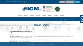 Accounts funding - ICM Capital