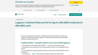 Logging in: Credit Card Online and the ICS App for ABN AMRO ...
