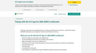 Paying with the ICS App for ABN AMRO creditcards