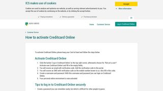How to activate Creditcard Online - ICS