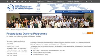 ICTP - An intense, pre-PhD programme for talented students