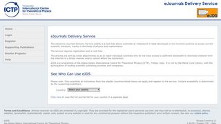 eJournals Delivery Service - ICTP