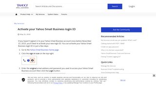Activate your Yahoo Small Business login ID