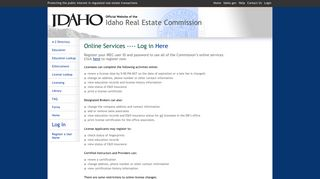 Online Services ---- Log in - Idaho Real Estate Commission - Idaho.gov