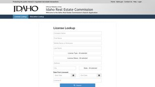 Search - Idaho Real Estate Commission Search