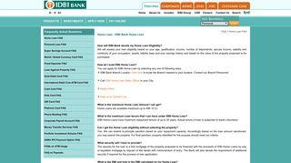 Home Loan FAQ - IDBI Bank