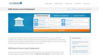 IDBI Home Loan Statement - IDBI Bank House Loan Statement in India