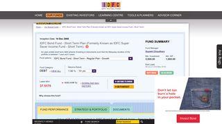 IDFC Bond Fund - Short Term Plan - IDFC Mutual Fund