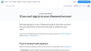 If you can't sign in to your 1Password account - 1Password Support